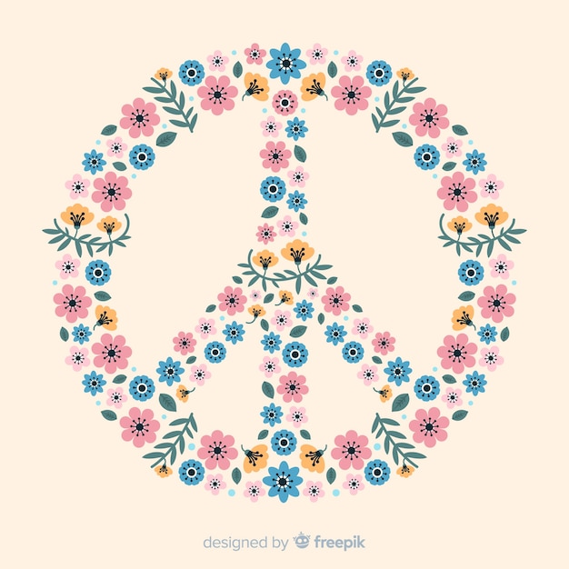 Floral peace sign Free Vector