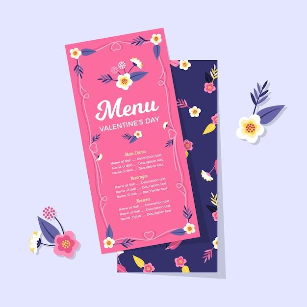 Floral pink and blue restaurant valentine menu Free Vector