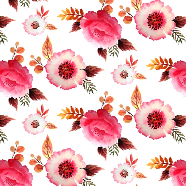 Floral pink seamless pattern Premium Vector