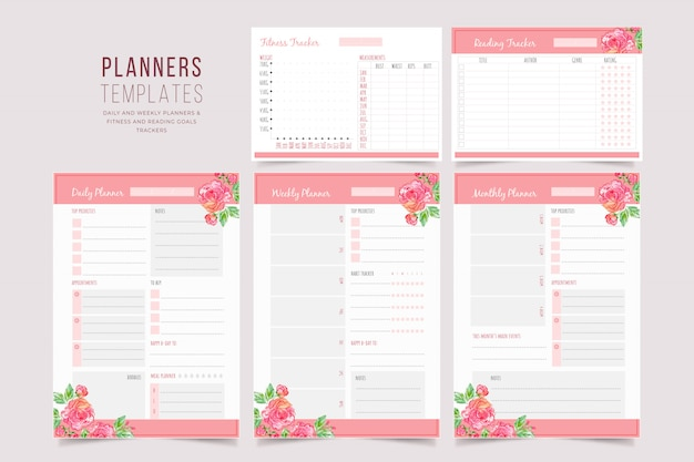 Floral planner templates collection Premium Vector