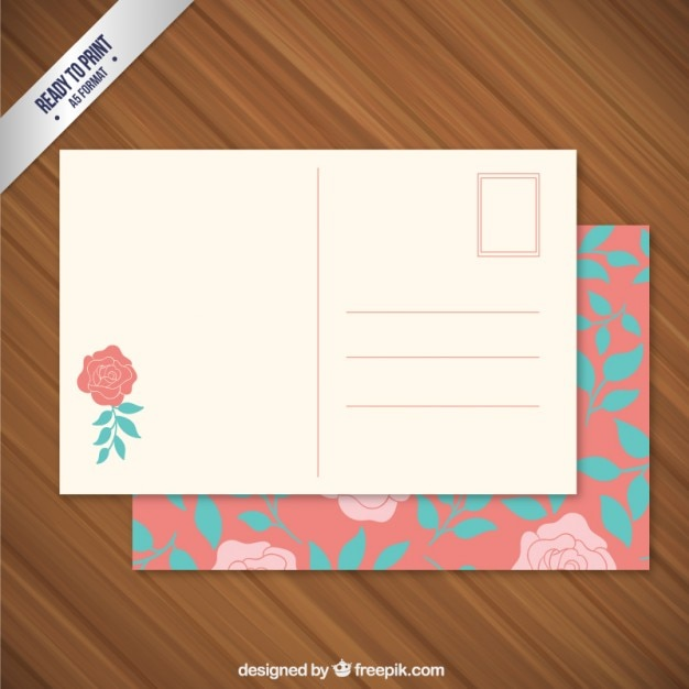 Floral Post Card Free Vector  Free Postcard Template Download