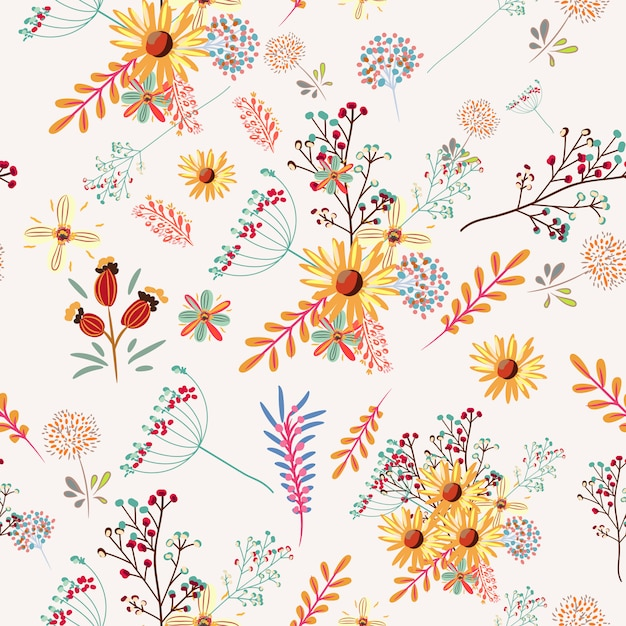 Floral pretty pattern with colorful pastel flowers Free Vector