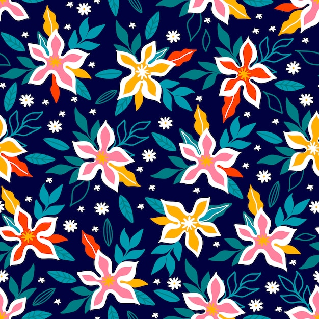 Floral Print Design Pattern With Cute Flowers Can Be Used For