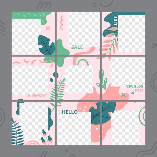 Floral puzzle template. social media photo frames post trends, garden flora posts grid and flowers design templates vector set Premium Vector