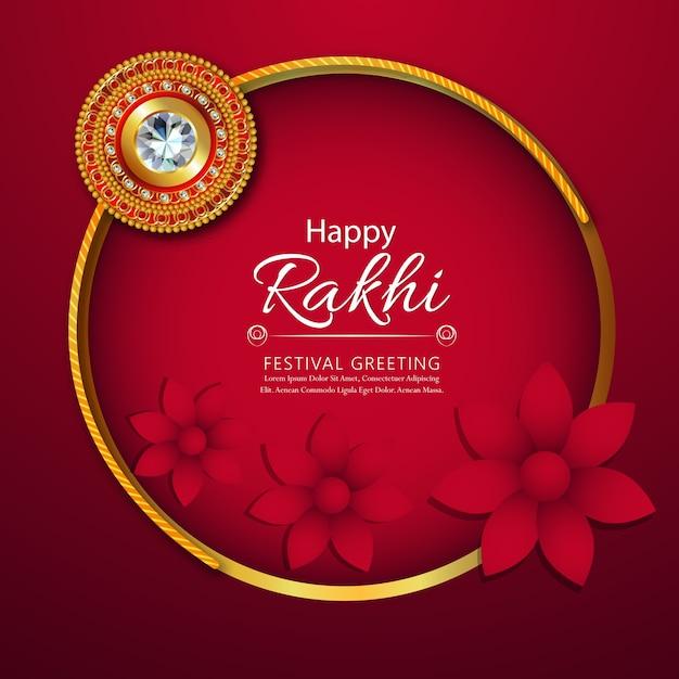 Floral rakhi with creative background Premium Vector