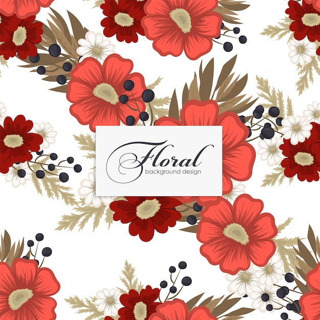 Floral  red flowers seamless Free Vector
