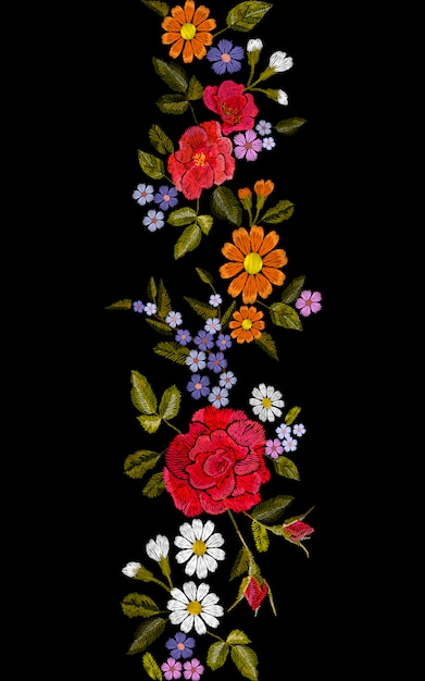 花の赤いバラブルーバイオレットデイジー刺繍シームレスな境界線 Premiumベクター