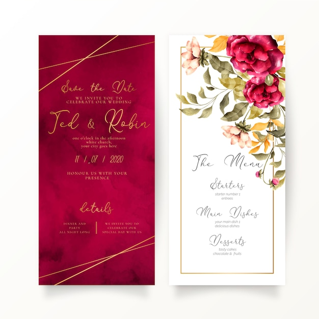 Floral and red wedding invitation and menu template Free Vector