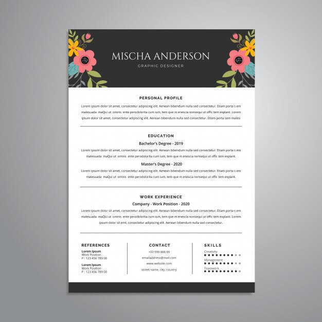 Floral Resume Cv Template Design Premium Vector