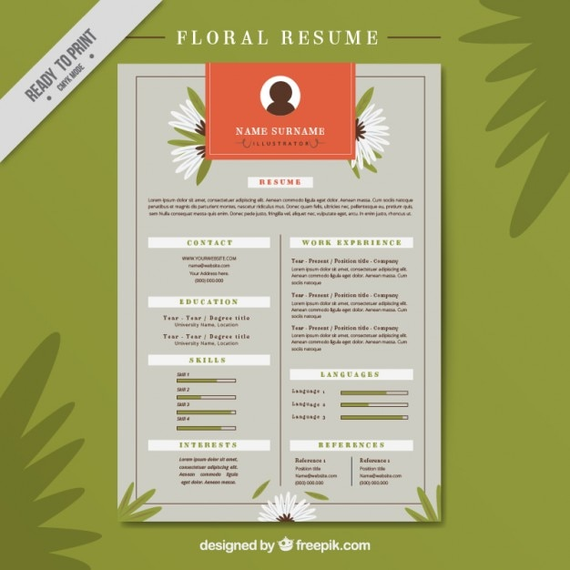 floral resume vector