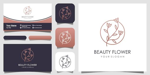ラインアートスタイルのロゴと名刺デザインとフローラルローズ Premiumベクター