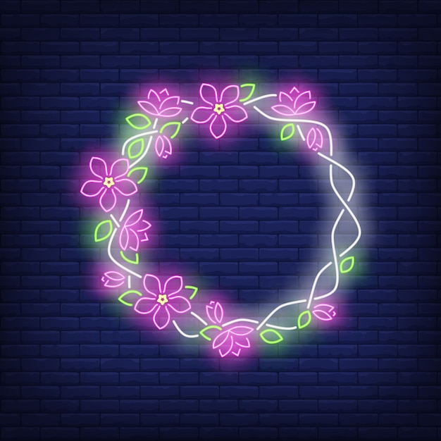 Floral round frame neon sign Free Vector