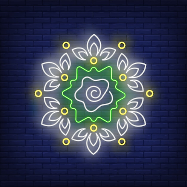Floral round mandala pattern neon sign Free Vector