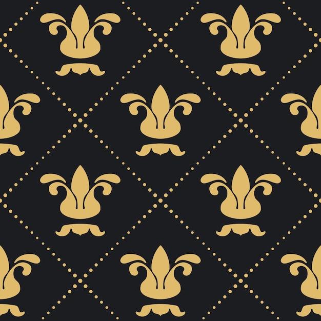 꽃 왕실 배경 무늬입니다. 레트로 빅토리아 장식 벽지. 무료 벡터