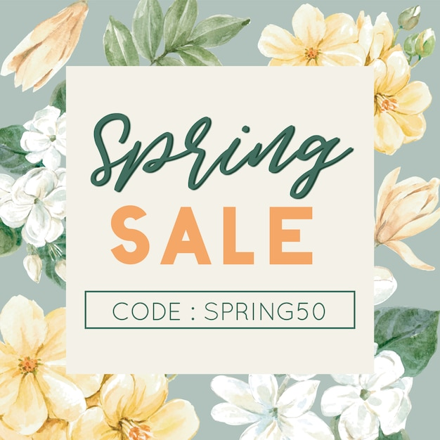 Floral sale banner with frame Free Vector