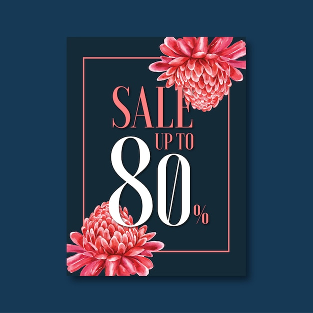 Floral sales flyer Free Vector