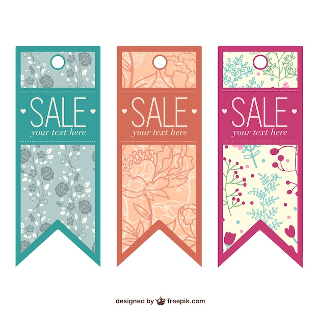 Floral Sales Tags Vector  Free Download