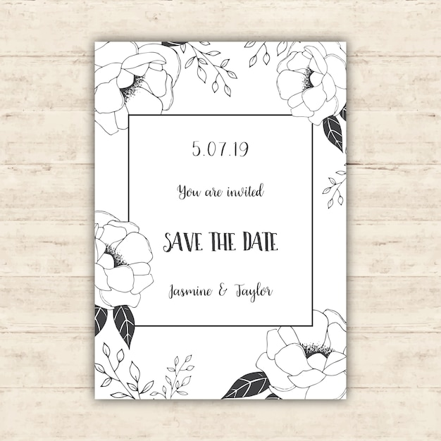 Floral save the date card design Free Vector