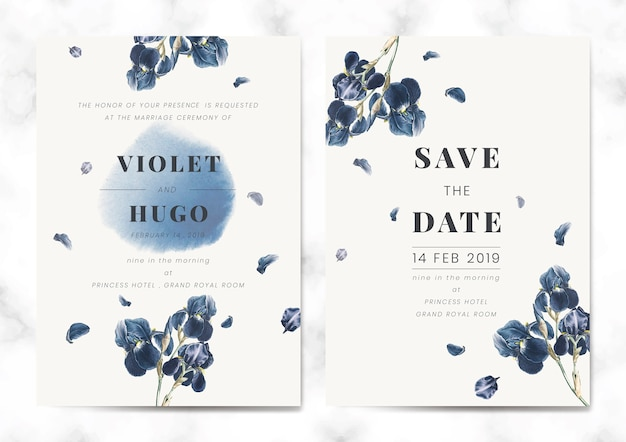 Floral save the date card set vector Free Vector