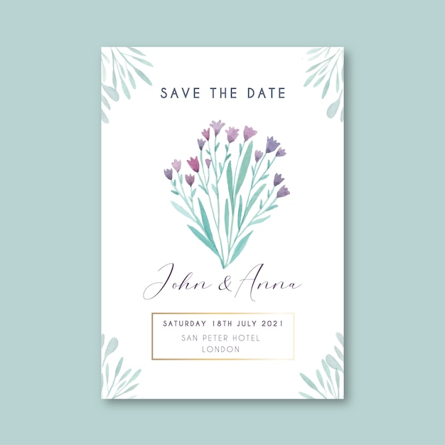 Floral save the date card template Free Vector