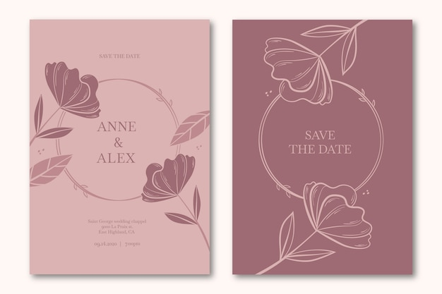 Floral save the date wedding invitation Free Vector