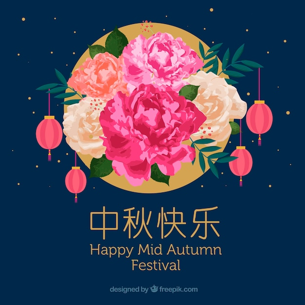 Floral scene, mid autumn festival