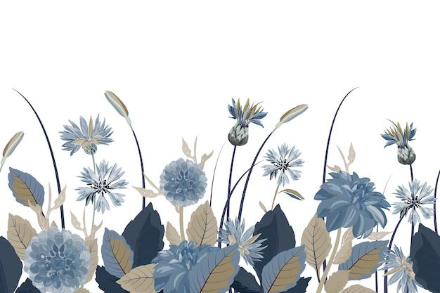 花のシームレスなボーダー。花の背景。青いヤグルマギク、ダリア、アザミの花、青、茶色の葉とのシームレスなパターン。白い背景で隔離の花の要素。 Premiumベクター