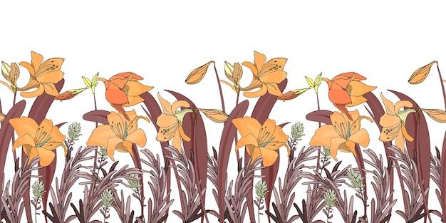 花のシームレスなボーダー花の背景シームレスなパターン Premiumベクター