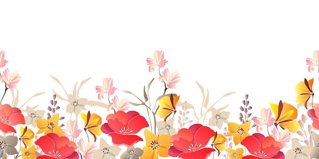 花のシームレスなボーダー。白の背景に分離された赤、黄色の花。 Premiumベクター