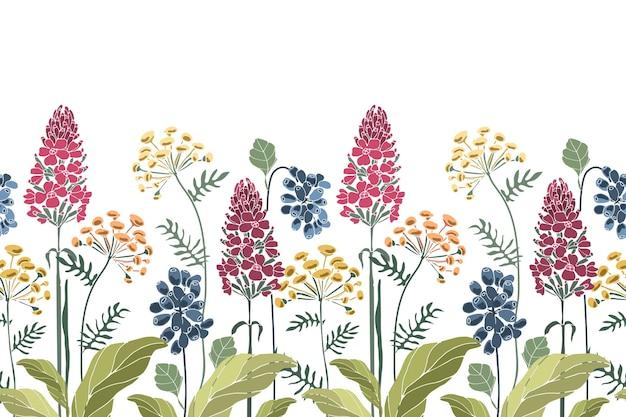 花のシームレスなボーダー。春夏の花緑の葉 Premiumベクター