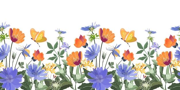 花のシームレスなボーダー。夏の花、緑の葉。チコリ、アオイ科の植物、テンニンギク、マリーゴールド、フランスギク。オレンジ、青い花、白い背景で隔離の蝶。 Premiumベクター