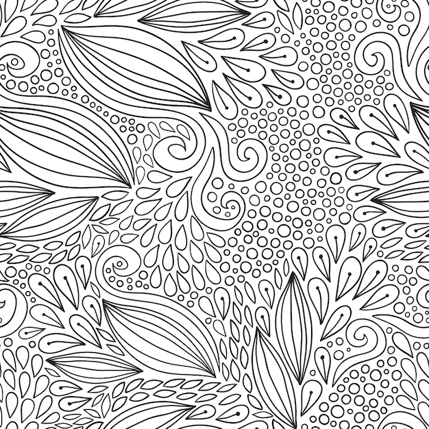 Floral seamless pattern. Black and white doodle modern ornament ...