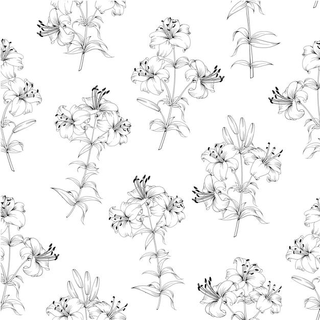 シームレスな花柄。白い背景に咲くユリ。 無料ベクター