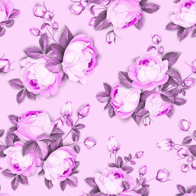 Floral seamless pattern. blooming roses on pink background. Free Vector