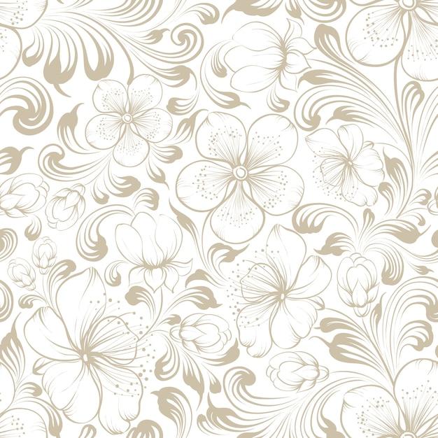 꽃 원활한 패턴입니다. 흰색 바탕에 피는 사쿠라입니다. 무료 벡터