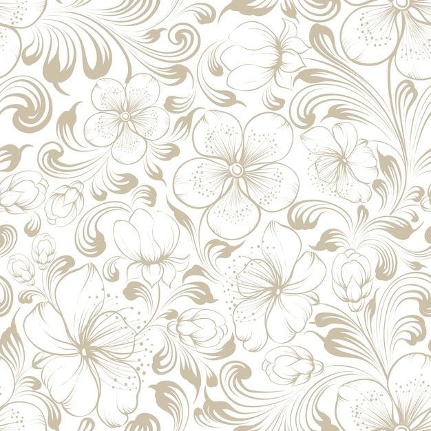 Floral seamless pattern.blooming sakura on white background. Free Vector