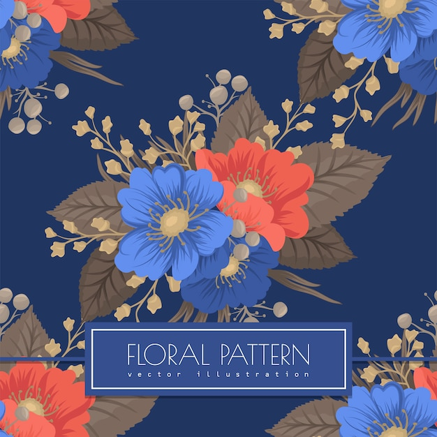 Floral seamless pattern- blue and red flowers Free Vector