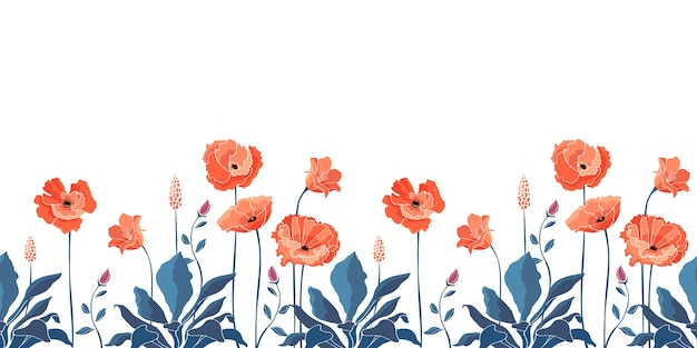 꽃 완벽 한 패턴, 테두리입니다. 캘리포니아 양귀비 꽃 프리미엄 벡터