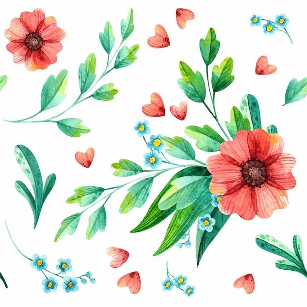 Motivo floreale senza soluzione di continuità, acquerello botanico. Vettore gratuito