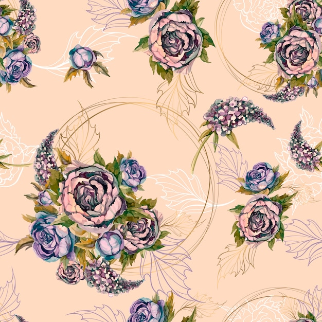 Floral seamless pattern bouquet of roses peonies and lilacs. Premium Vector