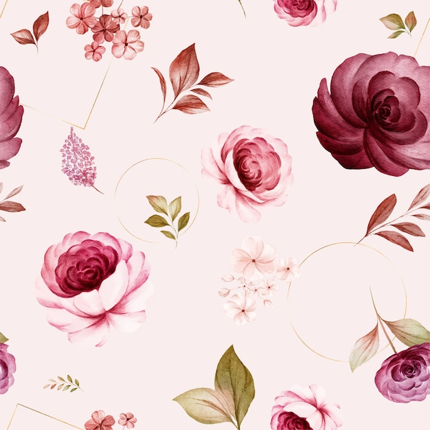Floral seamless pattern of burgundy and peach watercolor roses and wild flowers arrangements Premium Vector