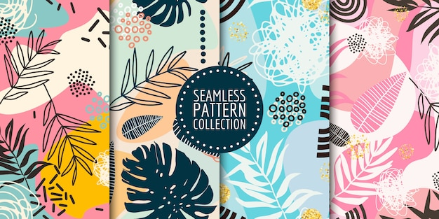 Floral seamless pattern collection Premium Vector