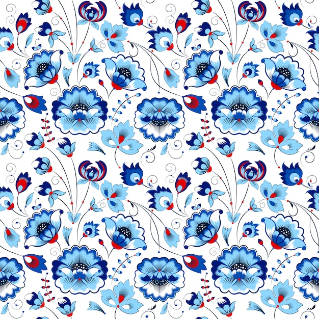 Floral seamless pattern in country style Premium Vector