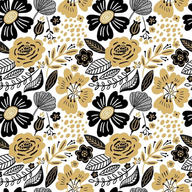 シームレスな花柄のゴールドと黒の色。平らな花、花びら、葉、落書き要素。繊維と表面のコラージュスタイルの植物の背景。切り抜き紙のデザイン。 Premiumベクター