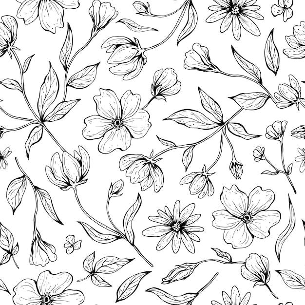 꽃의 완벽 한 패턴입니다. 라인 아트 스타일에 손으로 그린 잉크 그림. 프리미엄 벡터