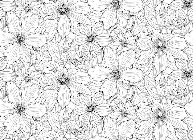 手描きのクレマチスの花でシームレスな花柄 Premiumベクター