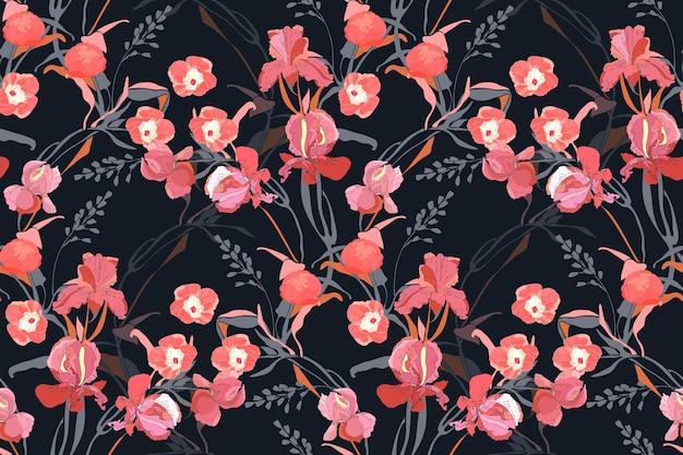 花のシームレスなパターン。ピンクのサツマイモ、牡丹、アイリスの花、灰色の枝、黒い背景で隔離の葉。タイルパターン。 Premiumベクター