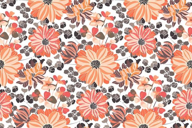 Floral seamless pattern. pink and orange garden flowers. beautiful chrysanthemums Premium Vector