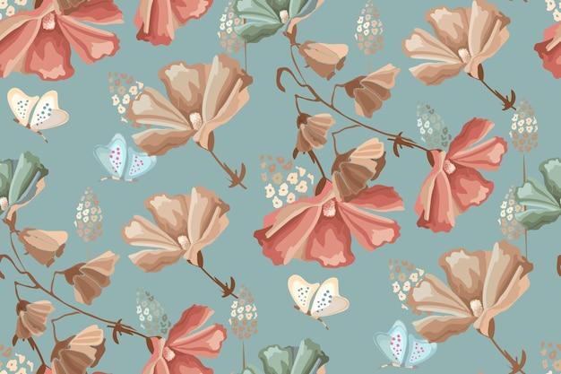 花のシームレスなパターン。汚れた青い背景に赤、ベージュ、青の花と蝶。レトロなスタイル。 Premiumベクター