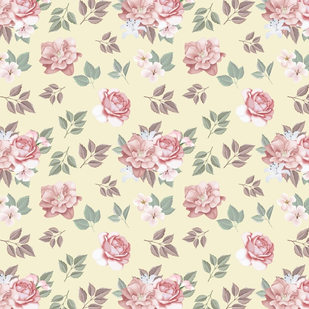 Floral seamless pattern  roses and wild flowers Premium Vector